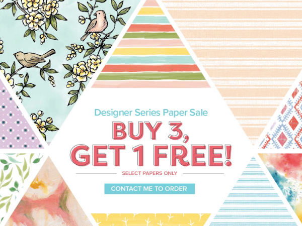 Buy 3 packs and get a 4th FREE! On select Designer Series Papers from Stampin Up!