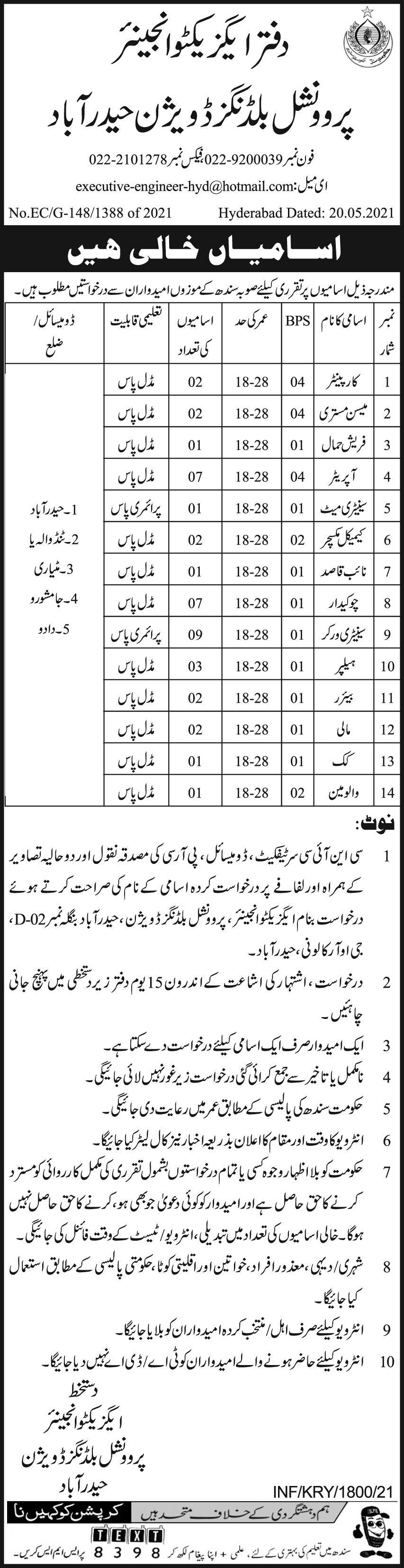 Provincial Buildings Division Jobs 2021 For Miscellaneous Staff as Carpenter, Masson Mistry, Machine Operator, Sanitary Mate, Chemical Mixture, Naib Qasid, Chowkidar, Sanitary Worker, Helper, Bearer, Malhi, Cook and Volveman