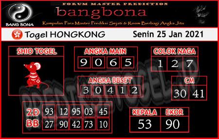 Prediksi Bangbona HK Senin 25 Januari 2021