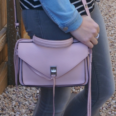 grey skinny jeans with pink Rebecca Minkoff small Darren messenger bag in peony | away from blue