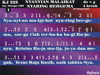 Lirik dan Not Kidung Jemaat 223 Nyanyian Malaikat Nyaring Bergema