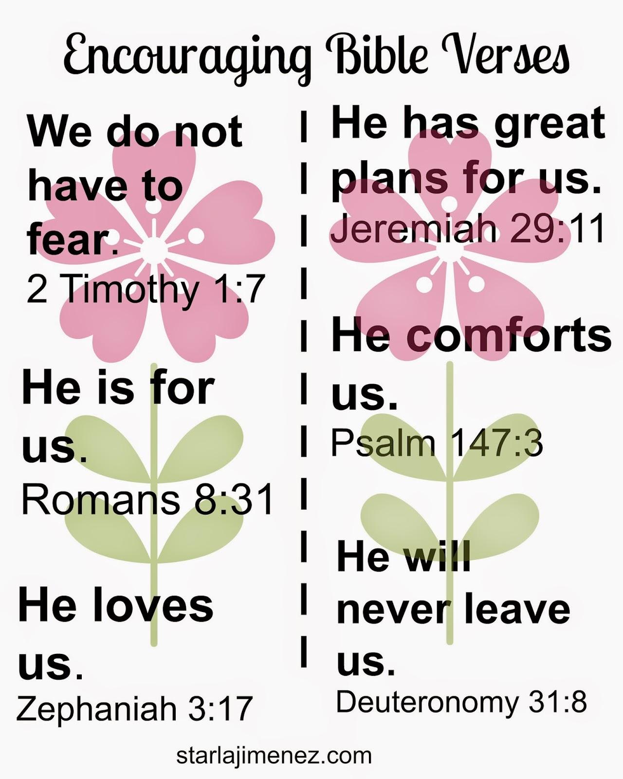 Free Printable. Encouraging Bible Verses.
