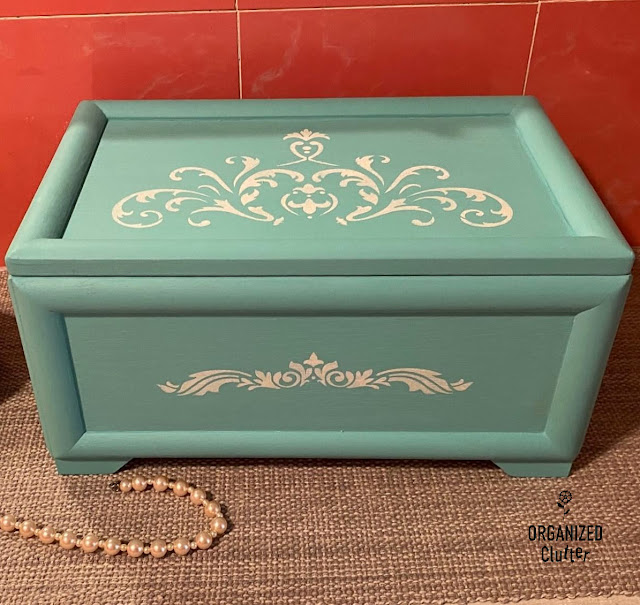 Photo of a painted and stenciled Goodwill jewelry box