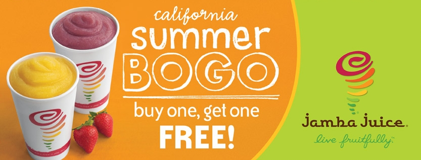 Jamba Juice has a new coupon out now. This deal is for their smoothies. Buy one item, and you can grab the second for free. This coupon is only valid in select states. Jamba Juice BOGO Smoothie Coupon Deal Expires March 18, Sponsored Links.