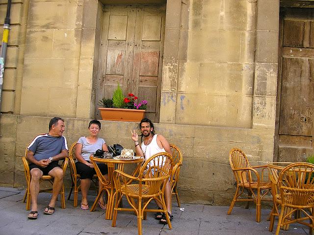En el Restaurante La Piedra. Con Pedro y Sergi.