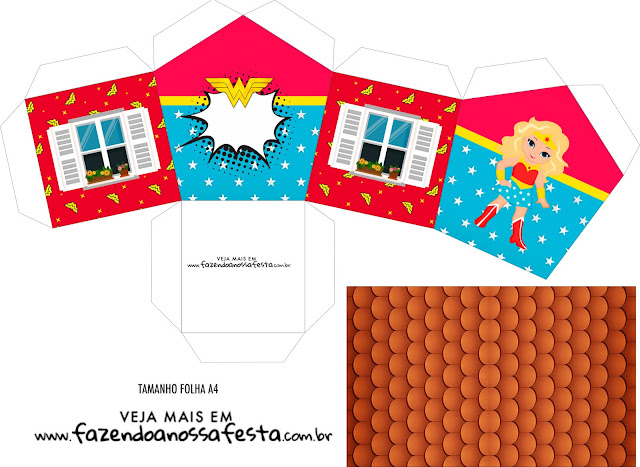 Blondie Wonder Woman Free Printable House Shaped Box.