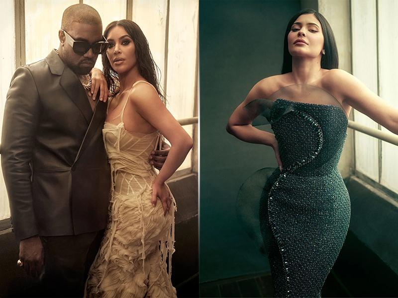 Kanye West, Kim Kardashian and Kylie Jenner