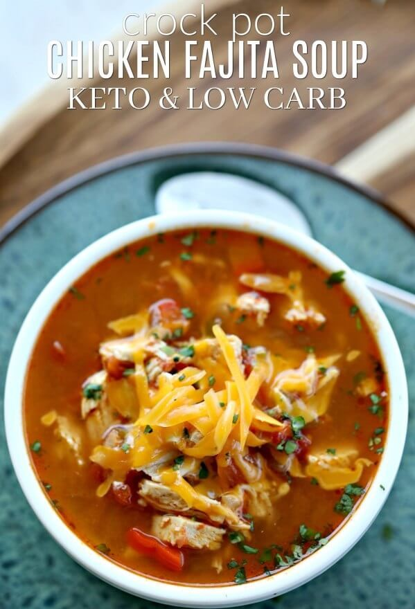 LOW CARB CROCK POT CHICKEN FAJITA SOUP