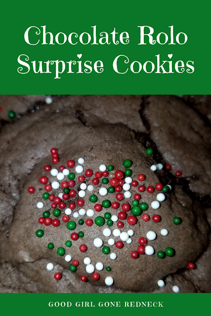 Chocolate Rolo Surprise Cookies, cake mix cookies, holiday dessert, cookie exchange ideas, delicious desserts, holiday treats