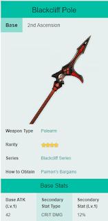 Blackcliff Pole - Rekomendasi Senjata Xiao