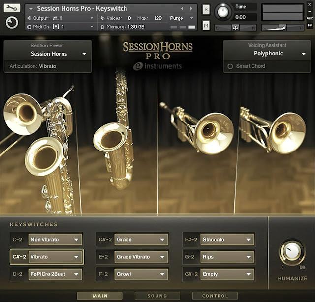 Interface da Library Native Instruments - Session Horns Pro v1.4 (KONTAKT)