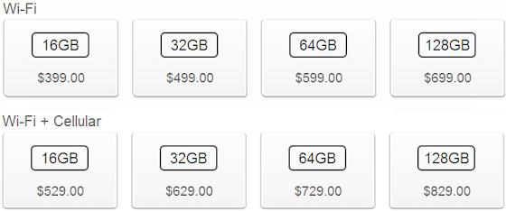 iPad mini 2014 16GB/32GB/64GB/128GB Price