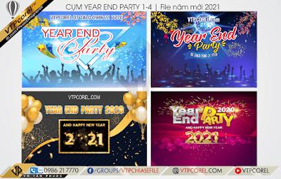 Phông nền Year End Party tất niên cuối năm đẹp nhất file CoreDraw
