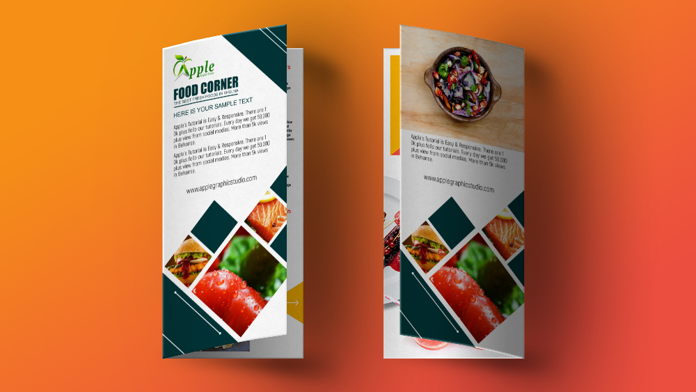 Bi Fold Brochure Design for Food Restaurant - Photoshop Tutorial - food brochure