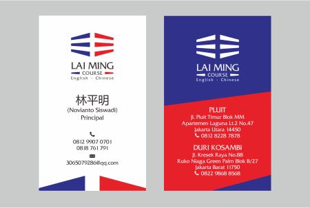 Desain kartu Nama Lai Ming Course - English Chinese