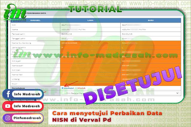 Cara menyetujui Perbaikan Data NISN di Verval Pd