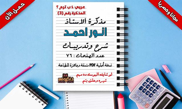 مذكرة لغة عربية للصف الرابع الابتدائى ترم ثانى 2020 وورد للاستاذ انور احمد