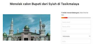 Beredar Petisi Tolak Calon Bupati Syiah di Tasikmalaya Tahun 2020