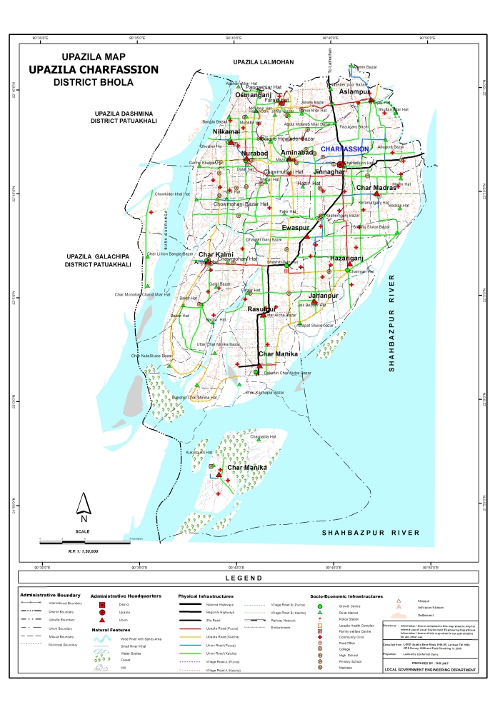 Charfassion Upazila Map Bhola District Bangladesh