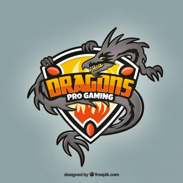 Desain logo esport gragon pro gaming transparan