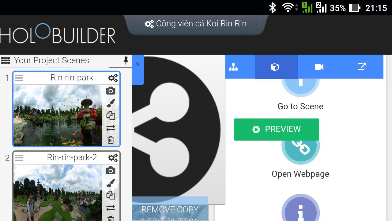 Giao diện web của HoloBuilder trên điện thoại cực kì lộn xộn dù đã xoay ngang màn hình