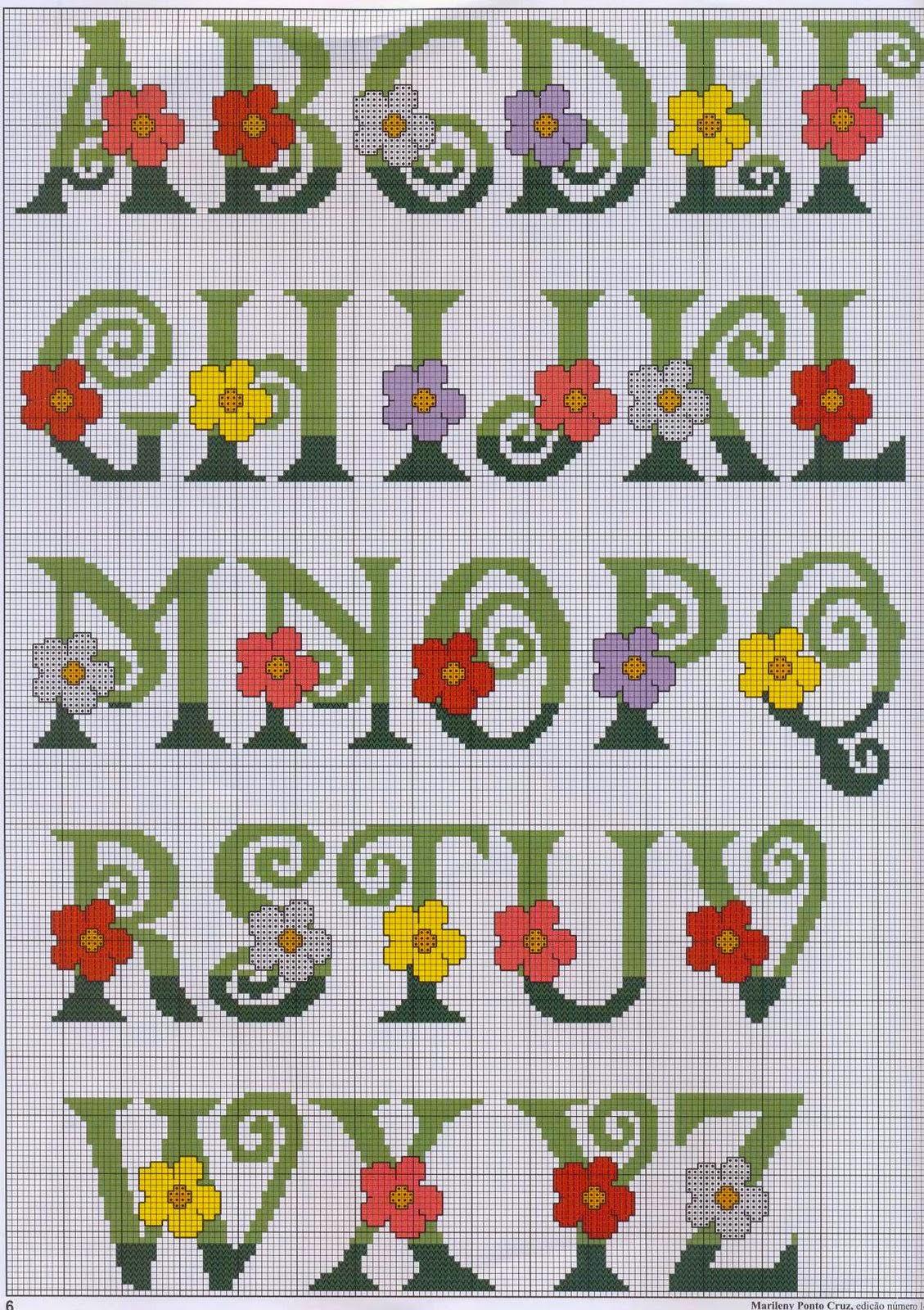 Amato Professione Donna: Schema per il punto croce: Alfabeto con i fiori EW99