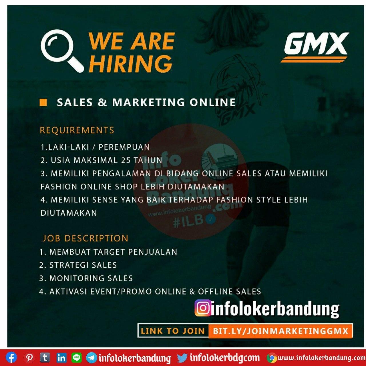 Lowongan Kerja Sales Satff & Sales Marketing Online GMX Bandung Juli 2020