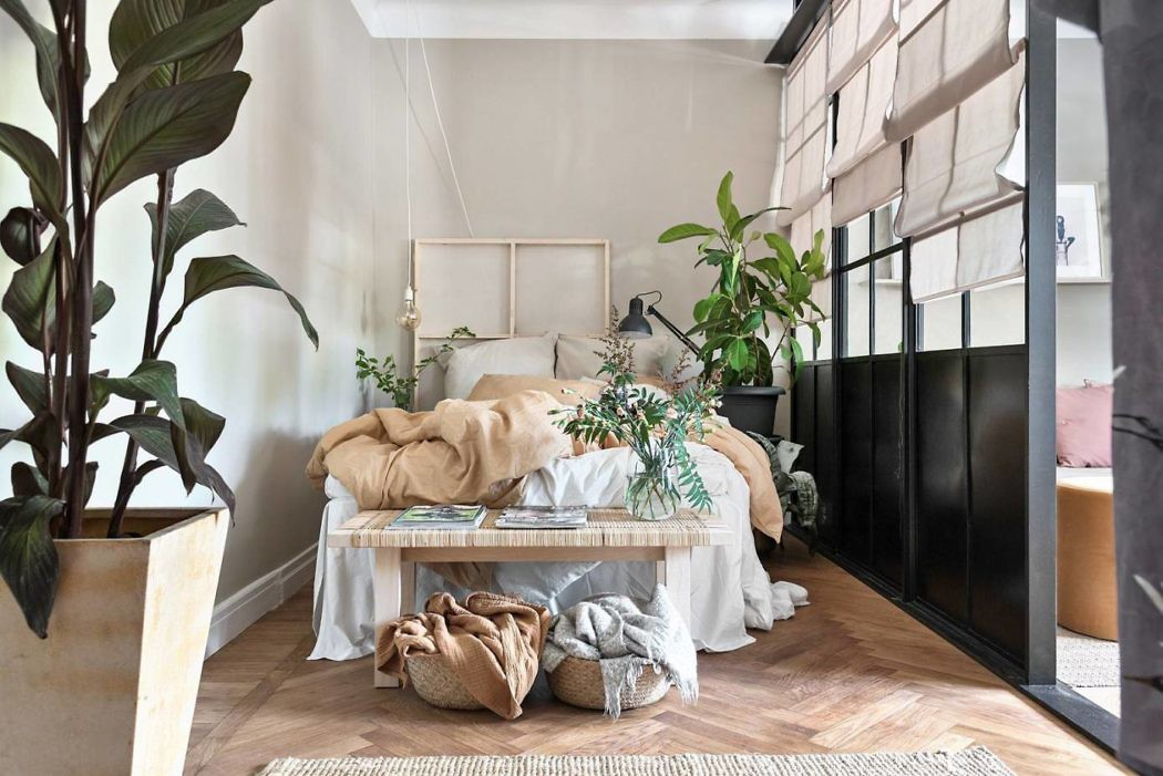 Textile și culori naturale în amenajarea unui apartament de 48 m²