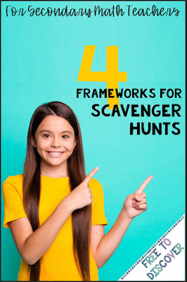 Perfect for middle school or high school math, these 4 scavenger hunt frameworks are sure to engage your students in meaningful math practice.