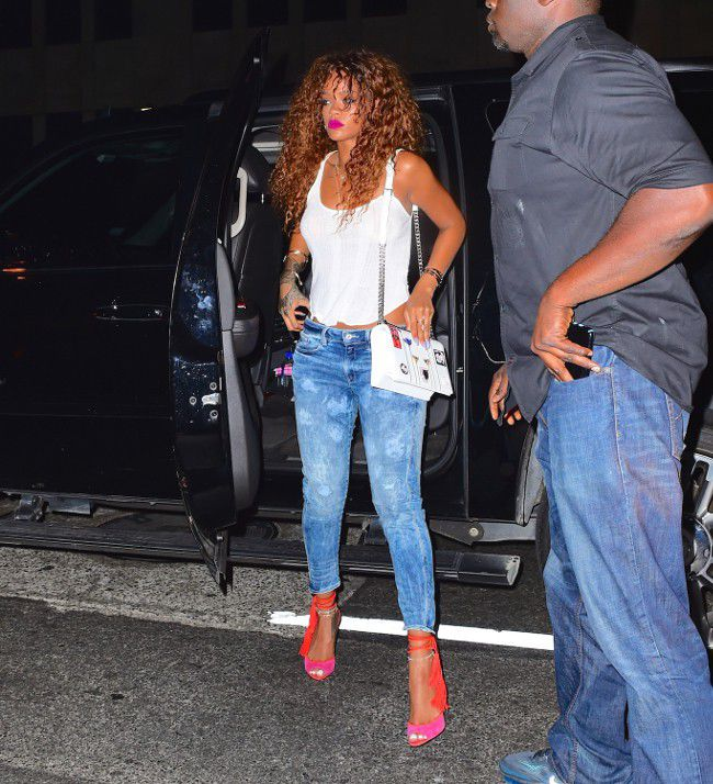Rihanna are seen leaving the same nightclub