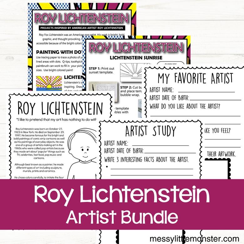 Roy Lichtenstein art for kids printable bundle