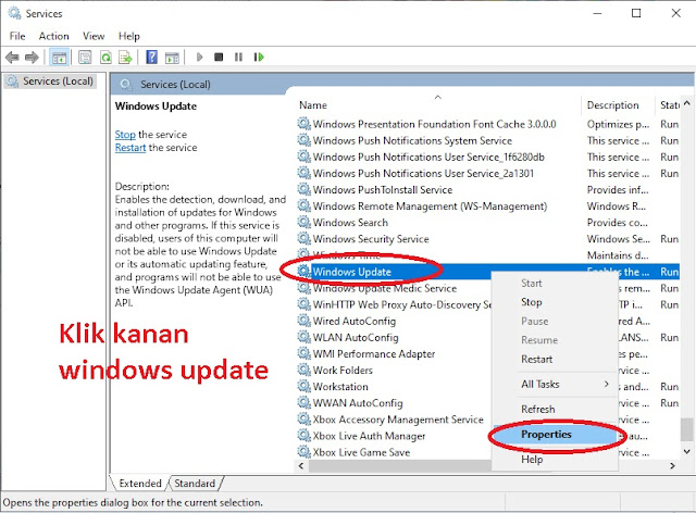 Klik Kanan Windows Update