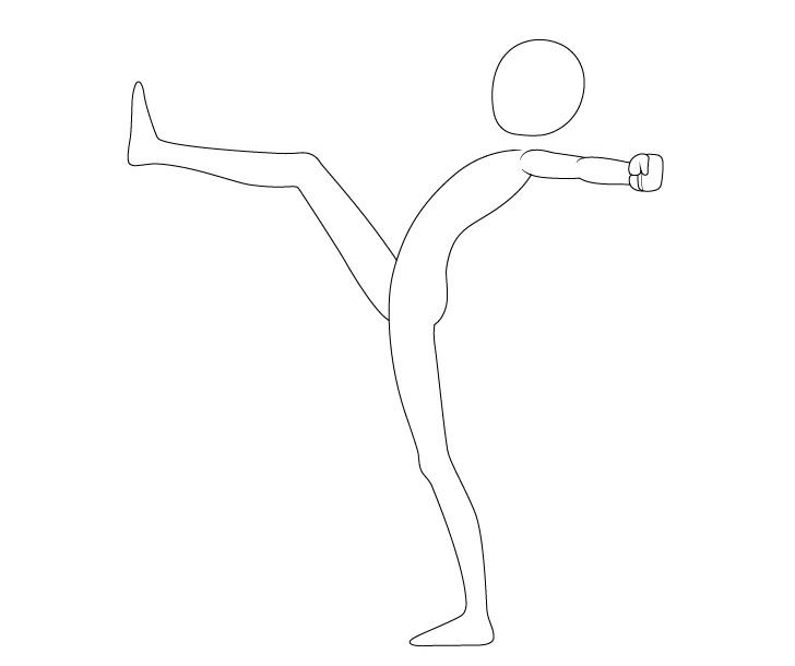 Anime menendang pose menggambar lengan