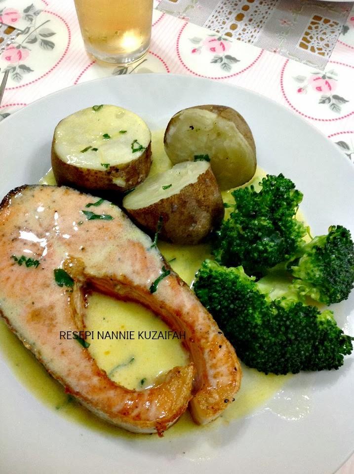 Resepi Nennie Khuzaifah Salmon Grill Sos Lemon Mentega