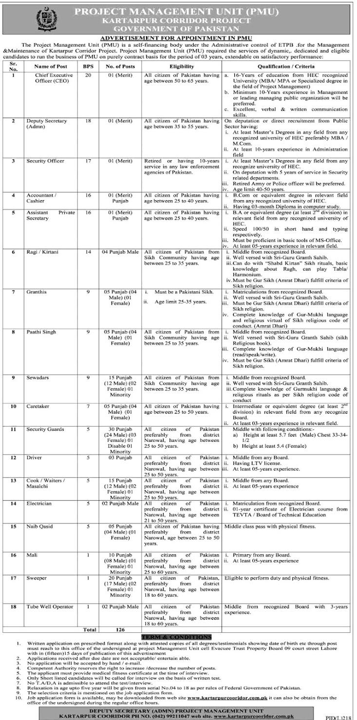 Project Management Unit PMU - Kartarpur Corridor Project Latest Jobs 2021