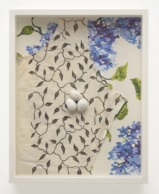Robert Gober Speckled Eggs/Dress Fabric/Wallpaper, 1988-2017  Epoxy putty with acrylic, alkyd on cotton, hand-printed silkscreen on paper 38 x 30 x 6 cm