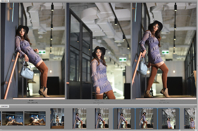 Boho chic office girl look, unedited model portfolio proofs by photographer Kent Johnson.