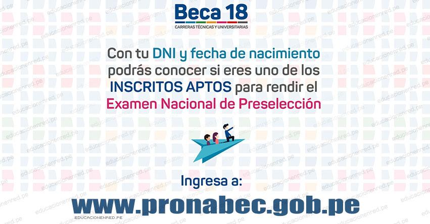 RESULTADOS PRONABEC 2018: Postulantes Aptos para el Examen Nacional de Preselección de BECA 18 - www.pronabec.gob.pe