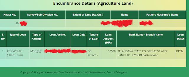 agricultural land encumbrance dharani portal