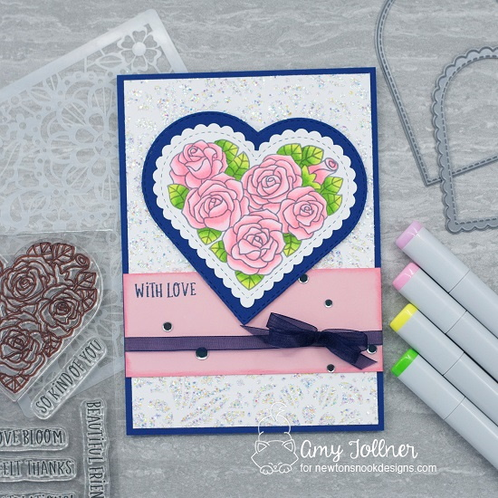 With love by Amy features Heartfelt Roses, Floral Lace, and Heart Frames by Newton's Nook Designs; #newtonsnook, #cardmaking, #floralcards