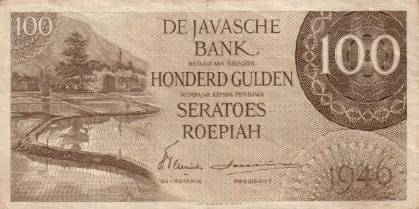 100 rupiah versi DJB 1946 depan