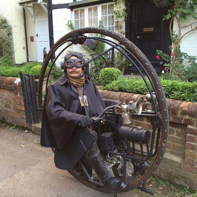 Victorian/Edwardian Steampunk Monowheel Time Traveling Gentleman