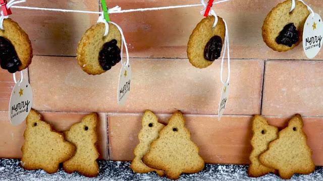 galletas de jengibre y avena para para colgar en el árbol