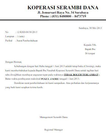 Contoh Surat Pemberitahuan Tagihan Pembayaran Angsuran Kredit Koperasi