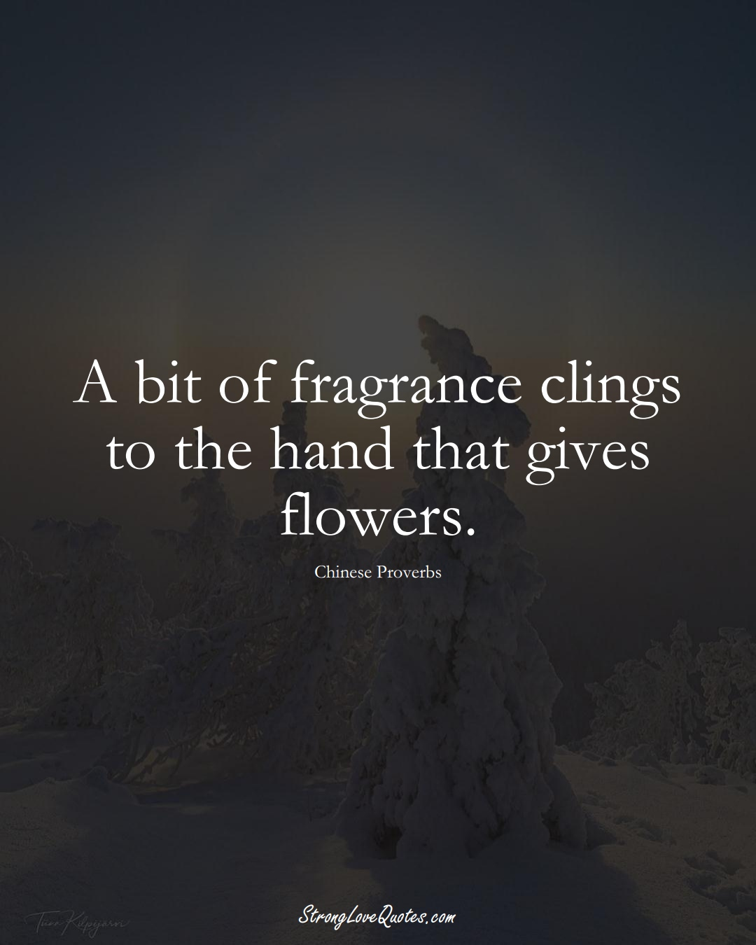 A bit of fragrance clings to the hand that gives flowers. (Chinese Sayings);  #AsianSayings