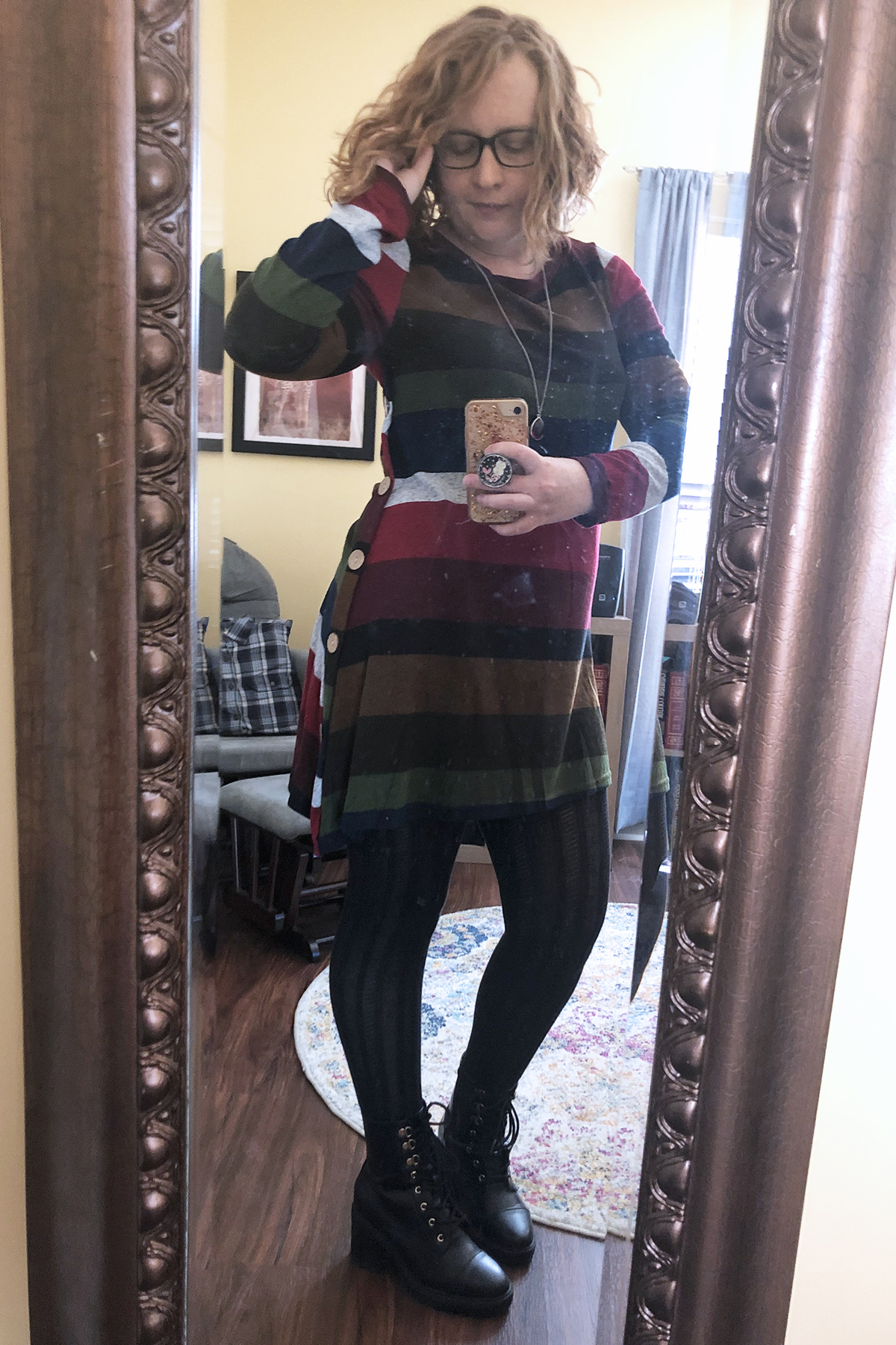 striped sweater dress tights combat boots