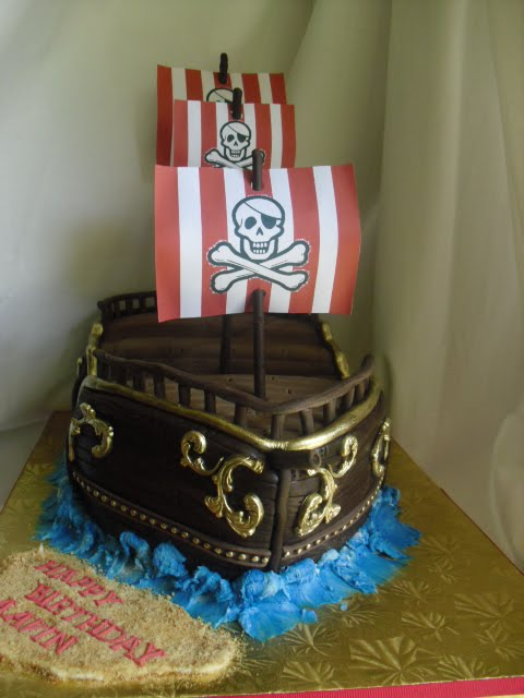 Made Fresh Daily Pirate Ship Birthday Cake And Cupcakes