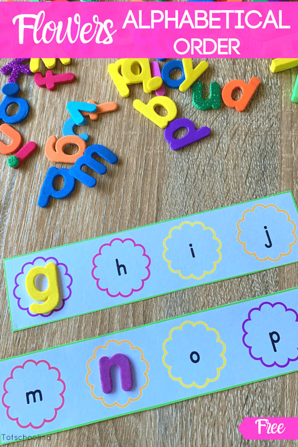 FREE alphabet ordering activity for preschool kids who are learning their ABCs. Fun hands-on literacy activity, perfect for Spring or any time!