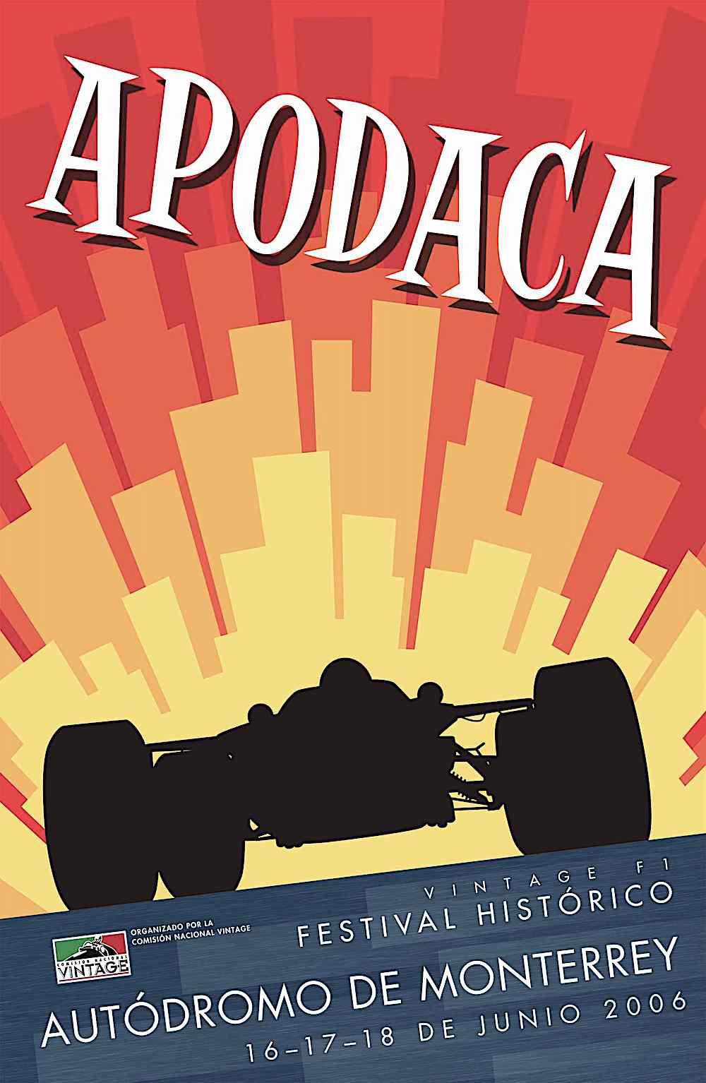 a 2006 John Bradley color poster in silhouette, Apodaca