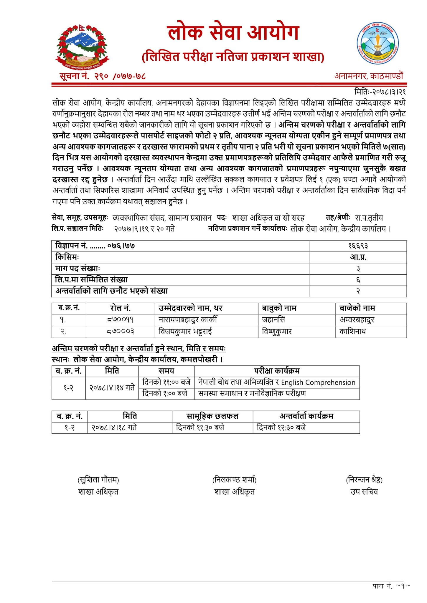 Exam Result of Section Officer: Parliament of Management, General Administration: